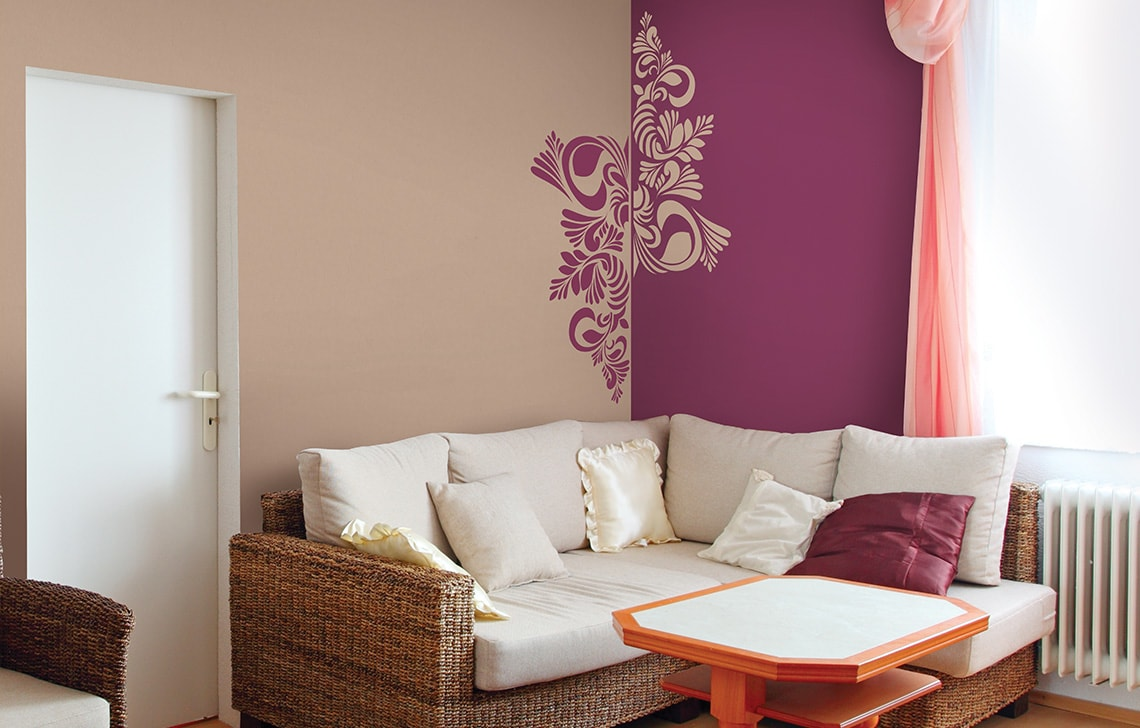 Colourdrive home painting service company asian paint nascent corolla stencil for Wall designs for living room asian paints