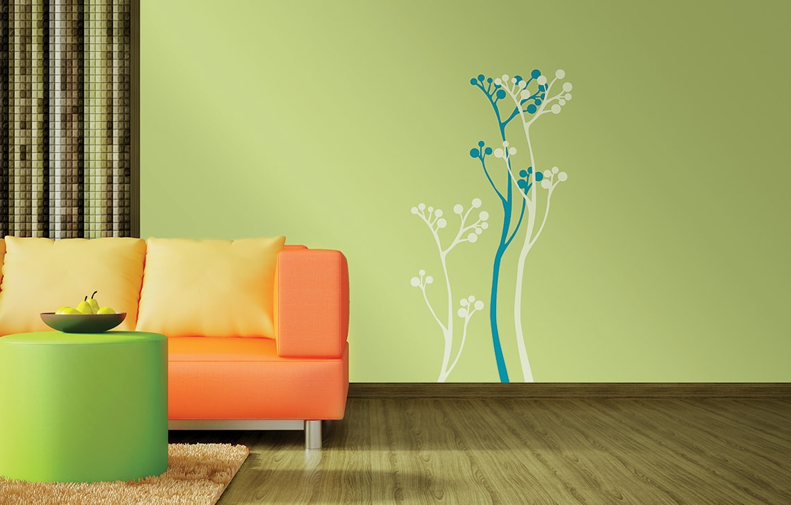 Colourdrive home painting service company asian paint summer bloom stencil for Wall designs for living room asian paints