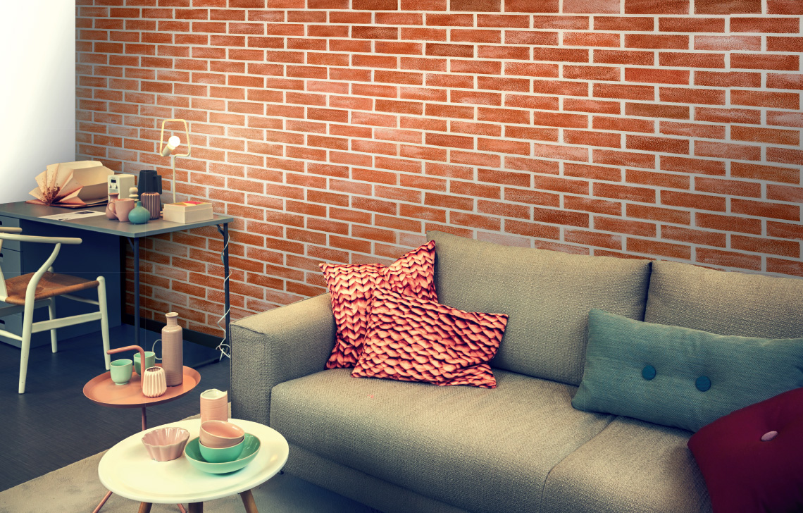 Asian paints bricks texture by colourdrive design ideas - Designer wall paints for living room ...
