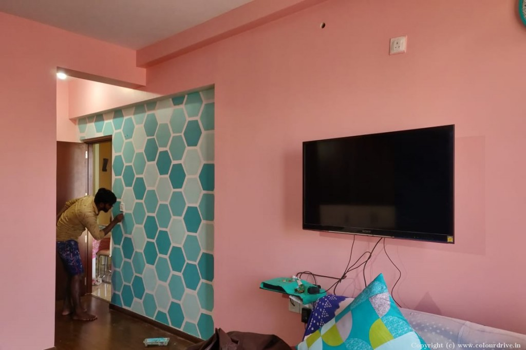 Stencil Home Painting Project at Silver County Rd, Lakedew Residency- Phase 2, Harlur Road, Bangalore