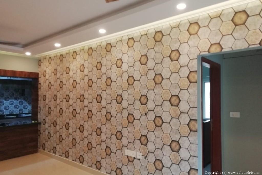 Wallpaper Home Painting Project at Ranka Colony, , Bilekahalli, Banargatta road, Bangalore