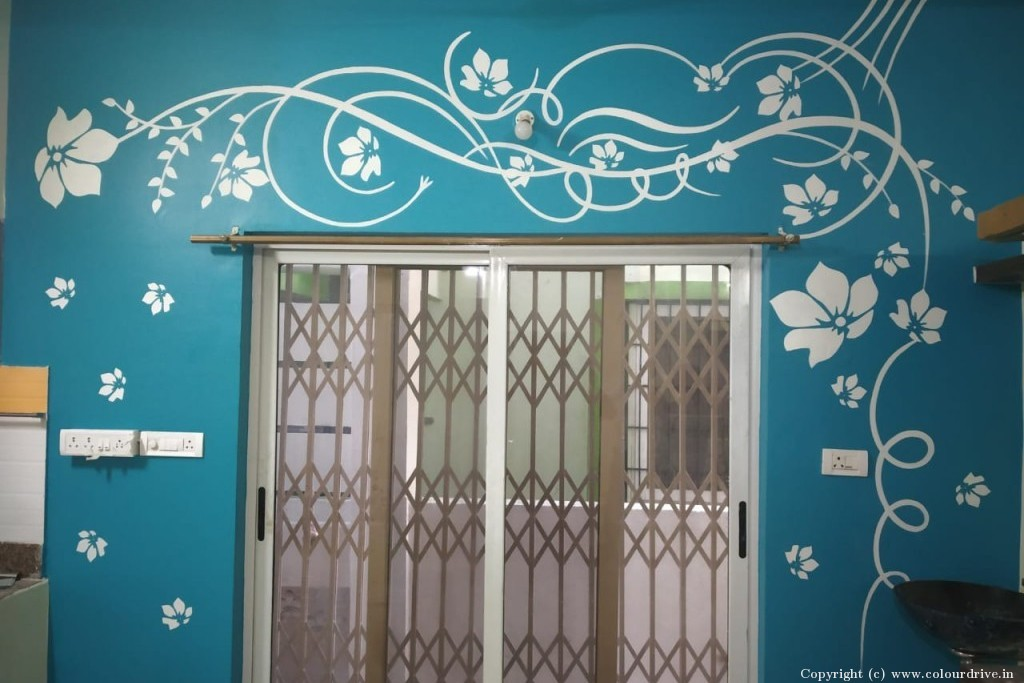 Stencil Home Painting Project at Smaskruthi Swargam, Yella Reddy Guda, , Kapra, Sri Guru Raghavendra Colony, Secunderabad,, Hyderabad