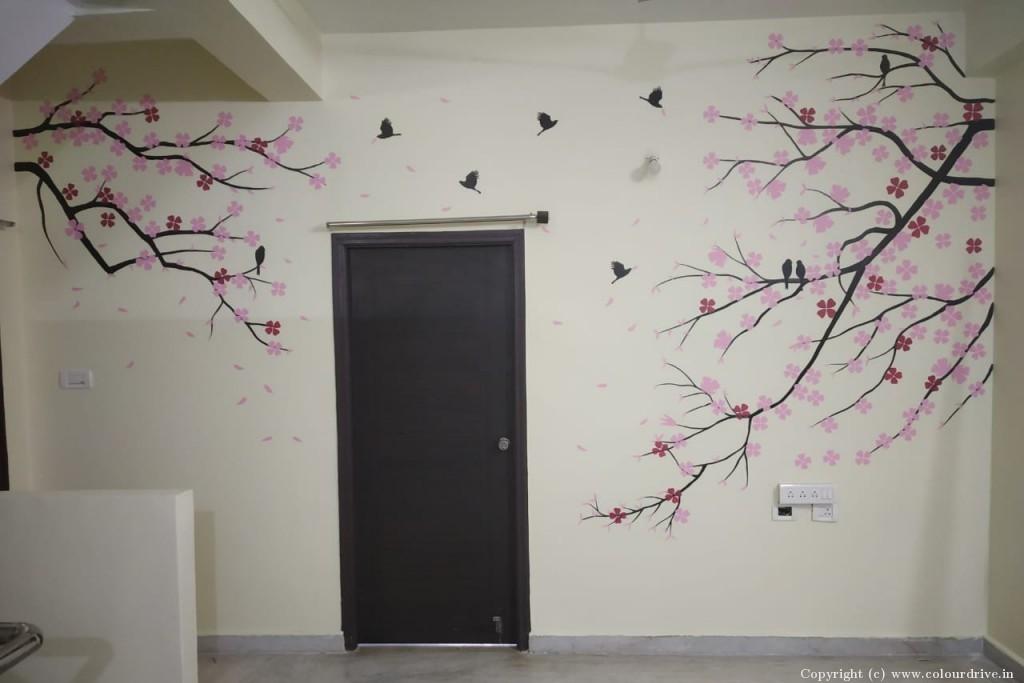 Free Hand Art Home Painting Project at Smaskruthi Swargam, Yella Reddy Guda, , Kapra, Sri Guru Raghavendra Colony, Secunderabad,, Hyderabad