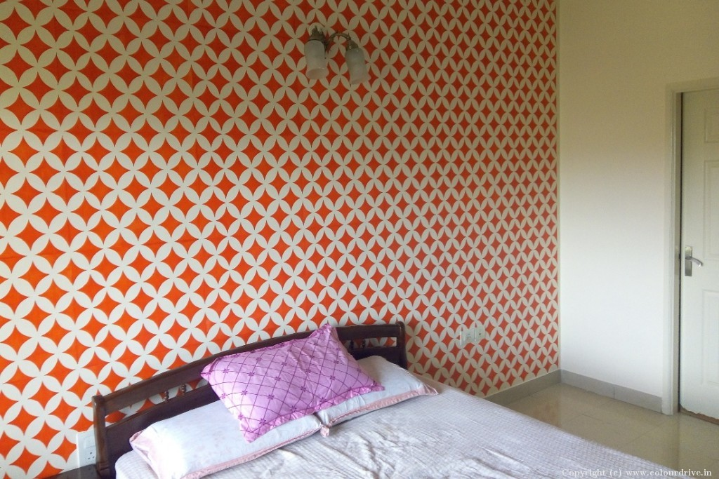 Stencil Home Painting Project at Raj Peradise Apartment, Bilekahalli, Bannerghatta Road, Bangalore