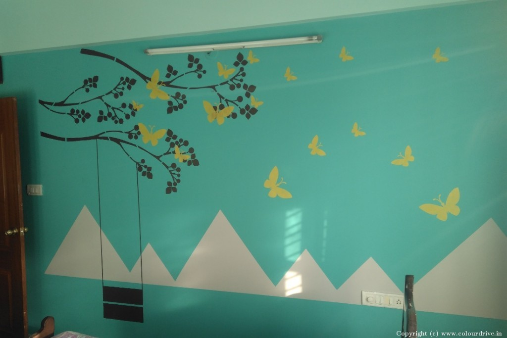 Stencil Home Painting Project at MS Park Apartment, Gottigere, Bannerghatta Road, Bangalore